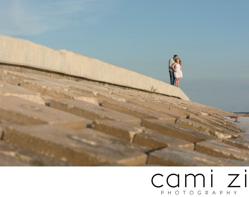 Fort De Soto Engagement Portrait Seawall