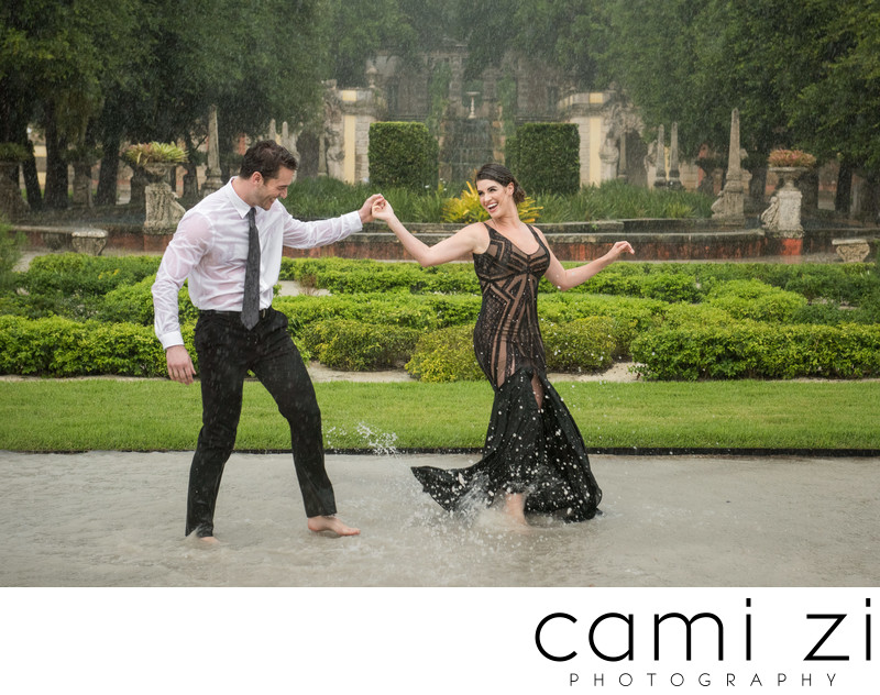 Vizcaya Dancing in the Rain Engagement Portrait