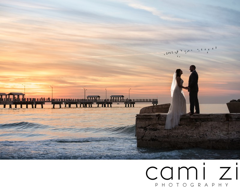 Stunning Sunset Wedding Portrait
