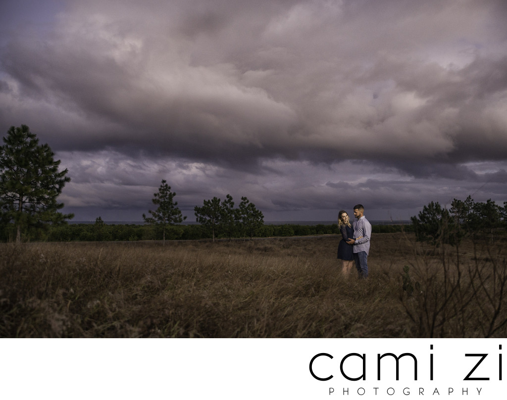 Engagement Photos with Dramatic Skies