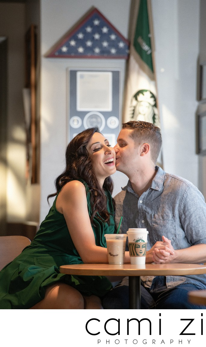 Fort Walton Starbucks Engagement Photo