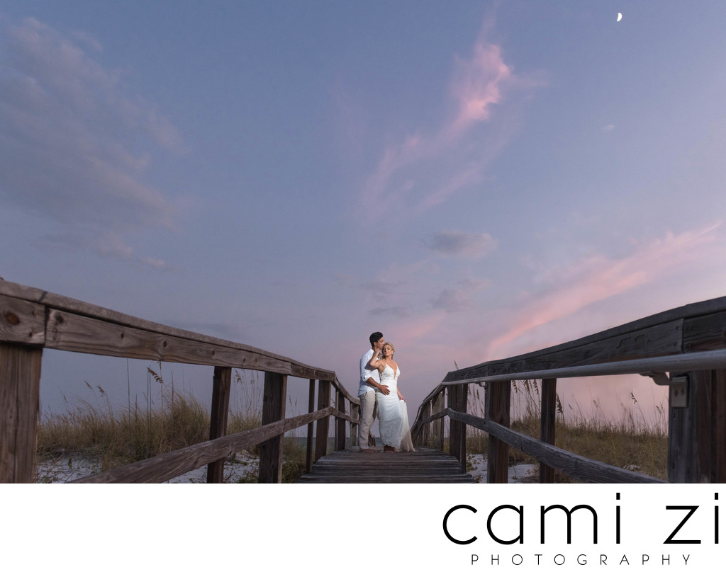 Pensacola Beach Sunset Wedding Portrait