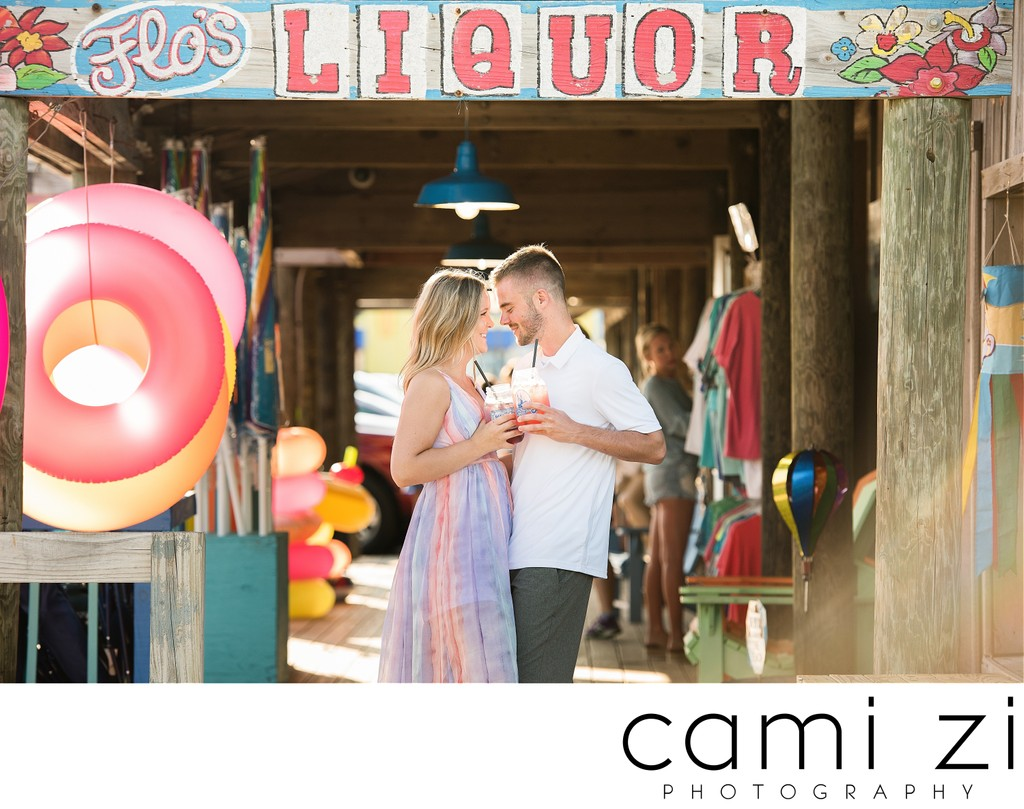 Pensacola Beach Engagement at Flo's Liquor