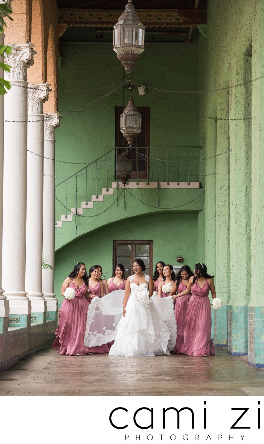 Bride and her Bridesmaids at the Biltmore Coral Gables