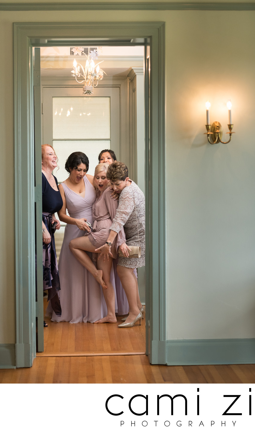 Fun Portrait Bridesmaids Getting Ready