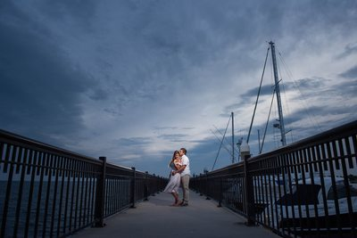 Palafox Pier Sunset Engagement Photo