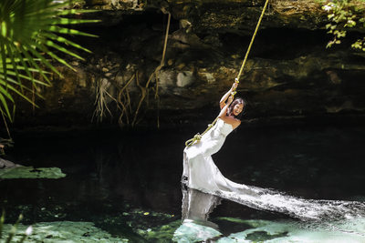 Trash the Dress Photoshoot Bravest Bride at Cenote Cristalino