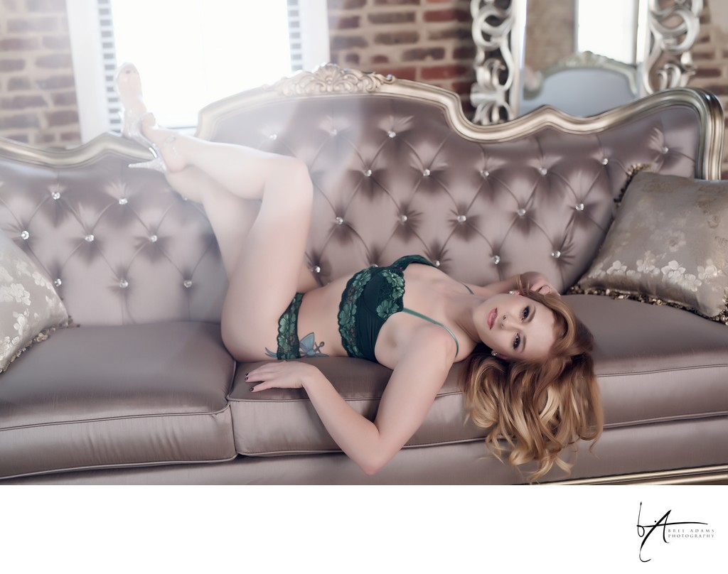 Romantic and classy boudoir photography in a luxury Mansfield studio