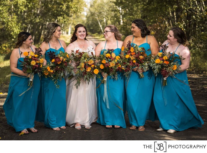 Photo of a Bride and Her Bridesmaids