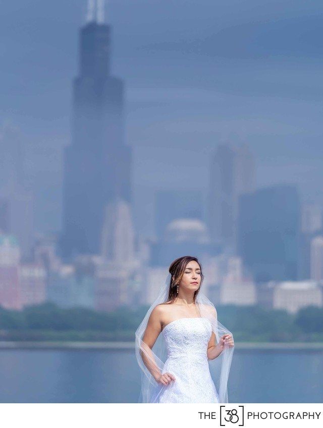 Chicago Adler Planetarium Bridal Portrait
