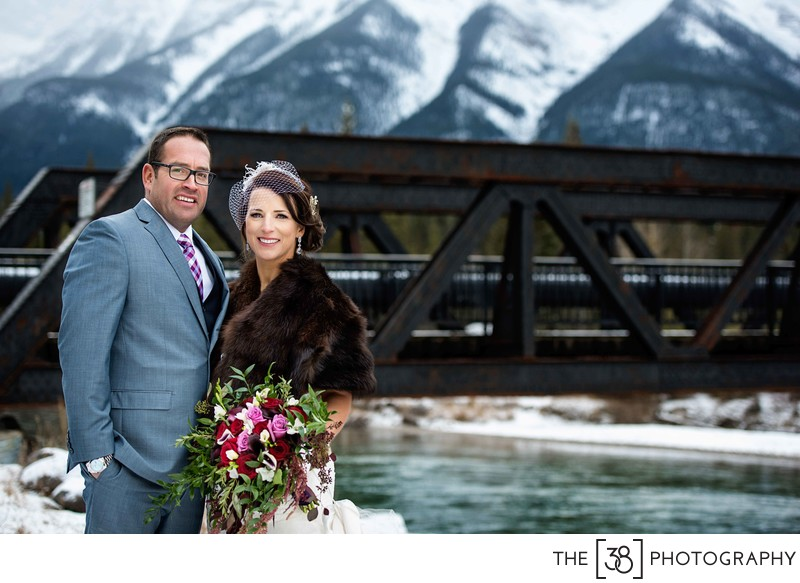 Canmore Engine Bridge Wedding Photo