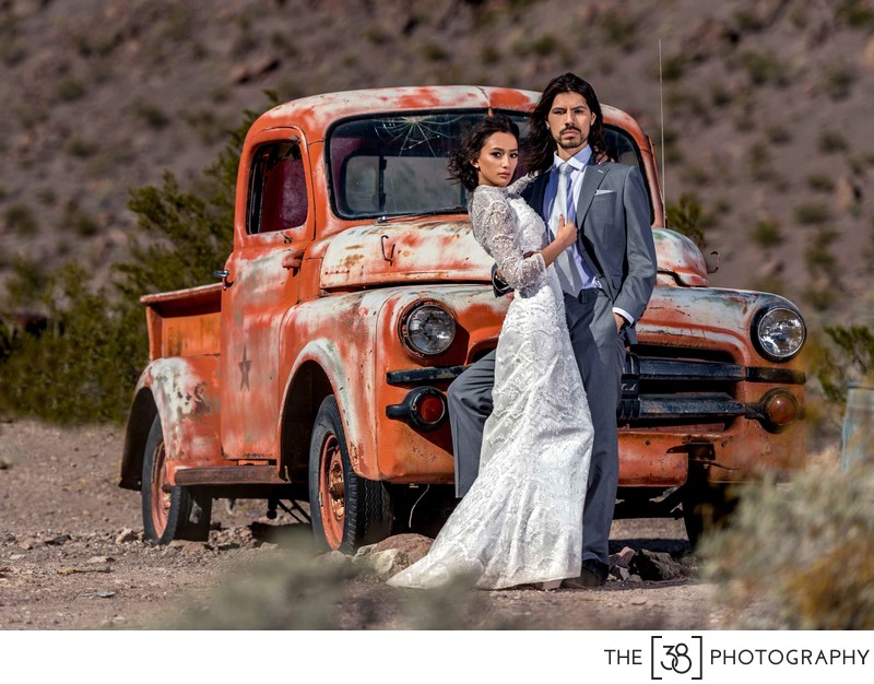 Wedding Portrait with an Old Car
