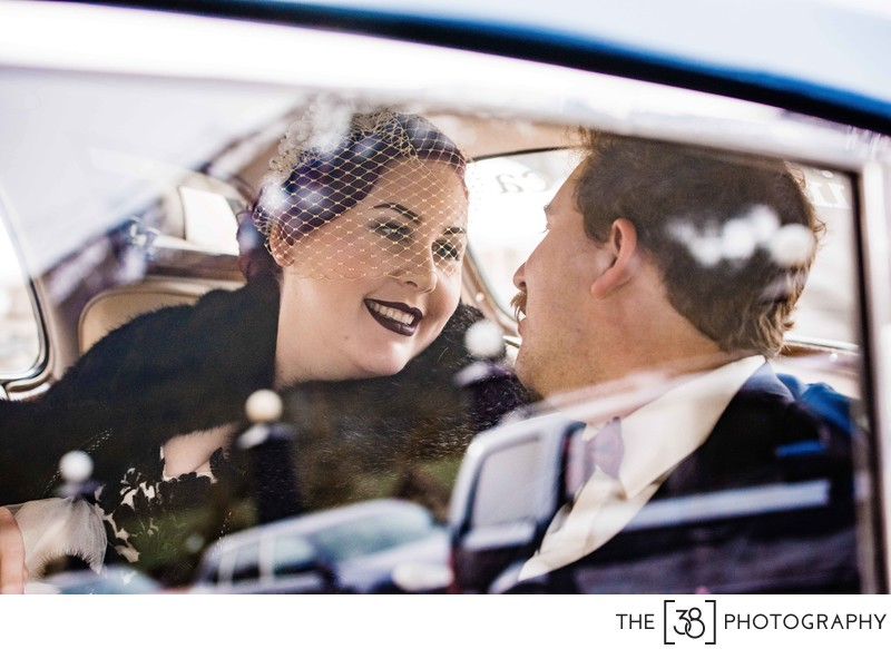Bride and Groom Portraits in the Car