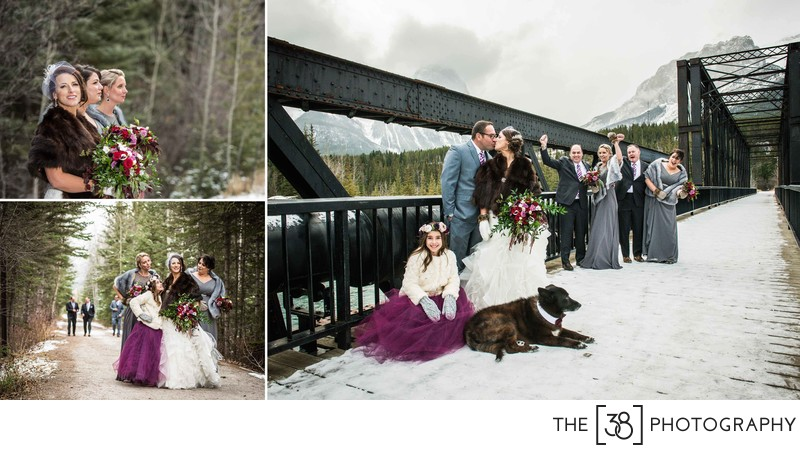 Canmore Winter Wedding Album Bridal Party Portraits