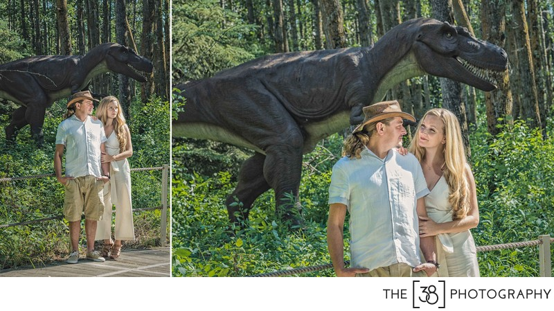 Engagement at Jurassic Forest - Tyrannosaurus Engagement Photos