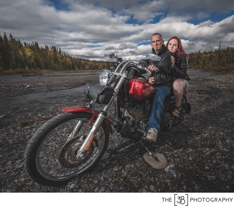 Harley Davidson Engagement Photos