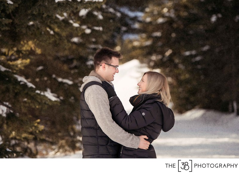 Winter Engagement Session at Two Jack Lake