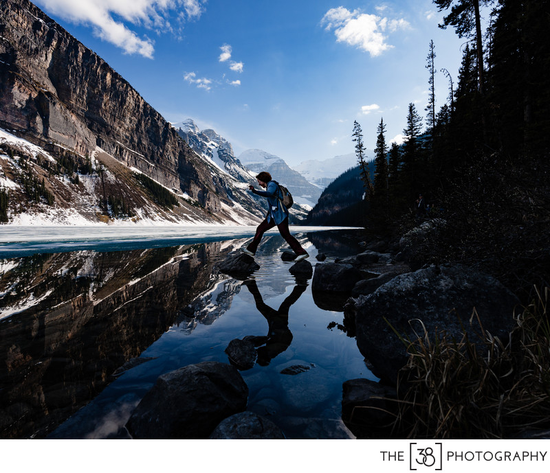 Jumping on the Rocks at Lake Louise