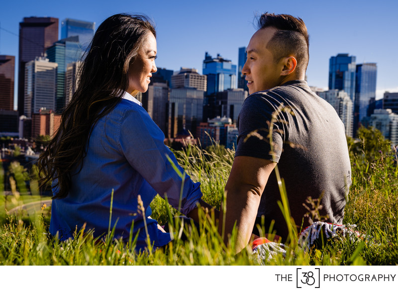 Engagement Photos Calgary Downtown View