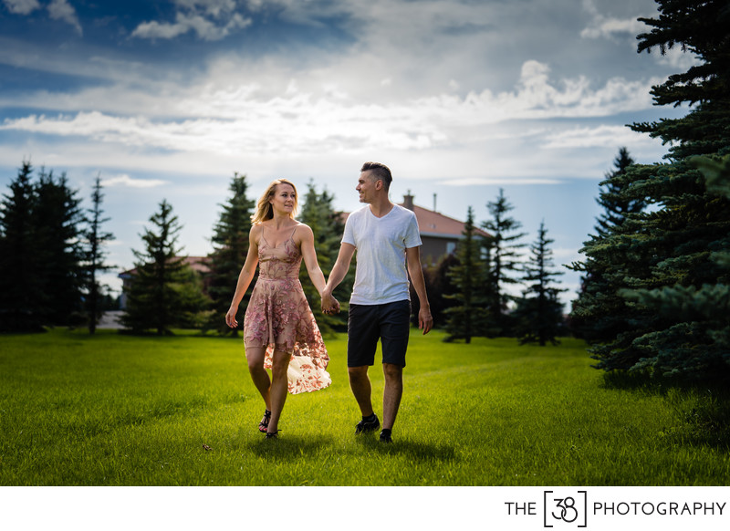 Portrait of the Engaged Couple at the Acreage