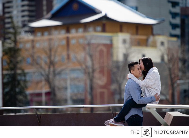 Spring Engagement Photos at Poppy Plaza