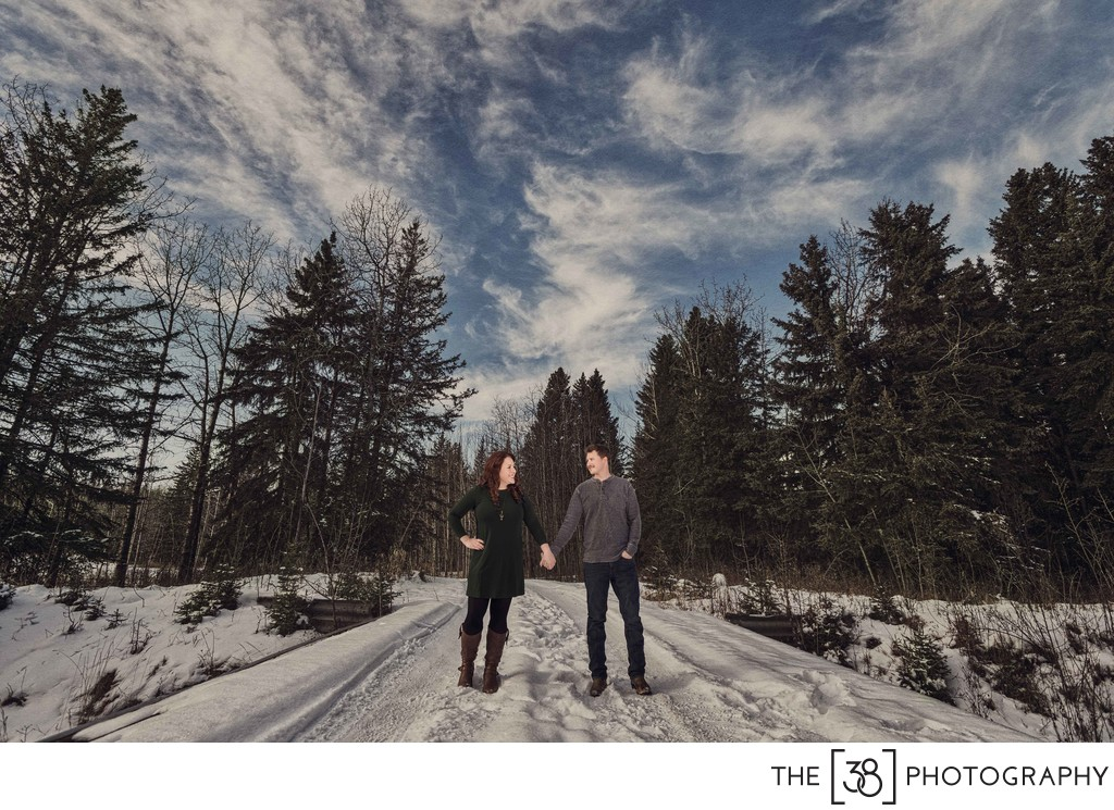 Rocky Mountain House Winter Engagement Photos