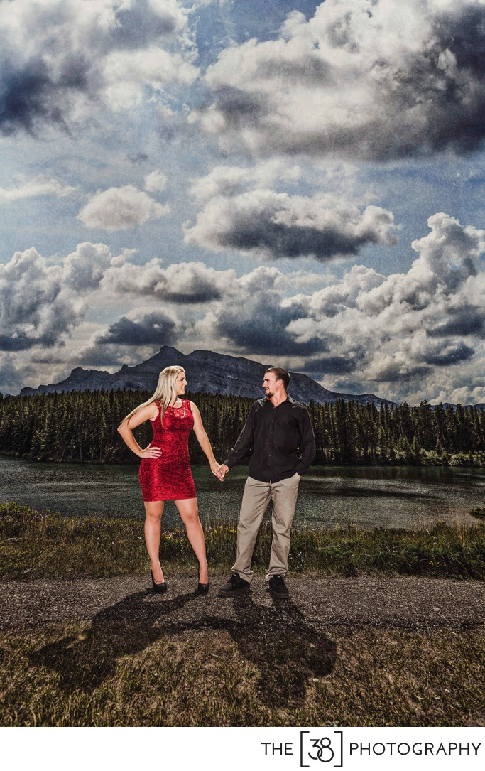 Summer Engagement Photos at Vermilion Lakes