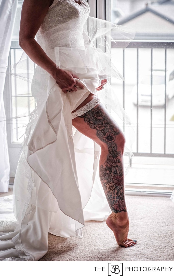 Bride With Tattoo Leg Getting Ready