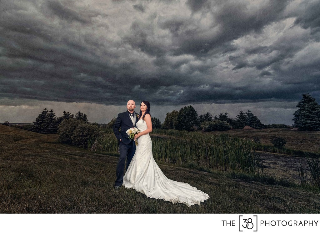 Rainy Day Wedding Photo at the Golf Course
