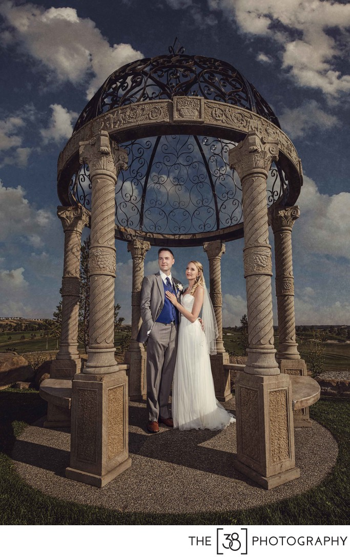 Blue Devil Golf Club Gazebo Wedding Photo