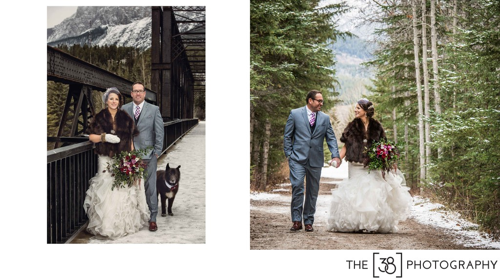 Canmore Winter Wedding Album Bride and Groom Portraits