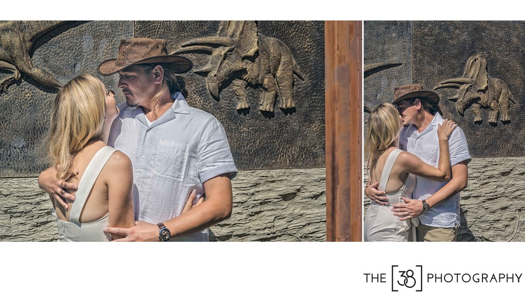Engagement at Jurassic Forest - Kiss at the Park Gates