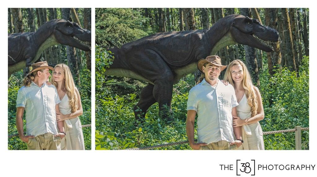Engagement at Jurassic Forest - T-Rex Family Picture