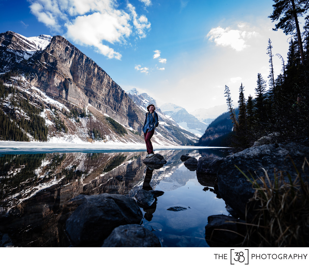 A Portrait of a Girl on the Rock at Lake Louise
