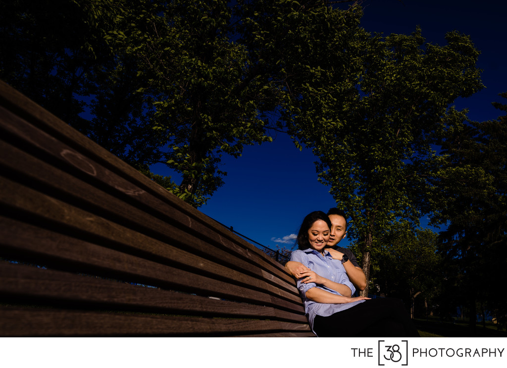 Engagement Photos Couple Sitting on the Bench