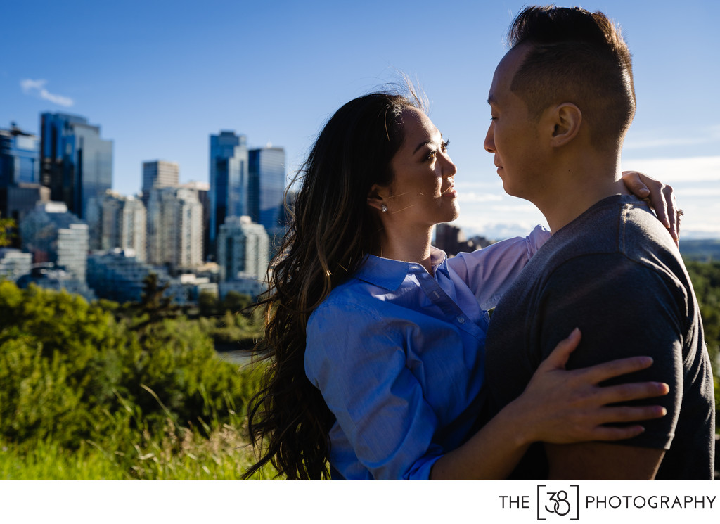 Engagement Photos Portrait with Calgary Downtown View