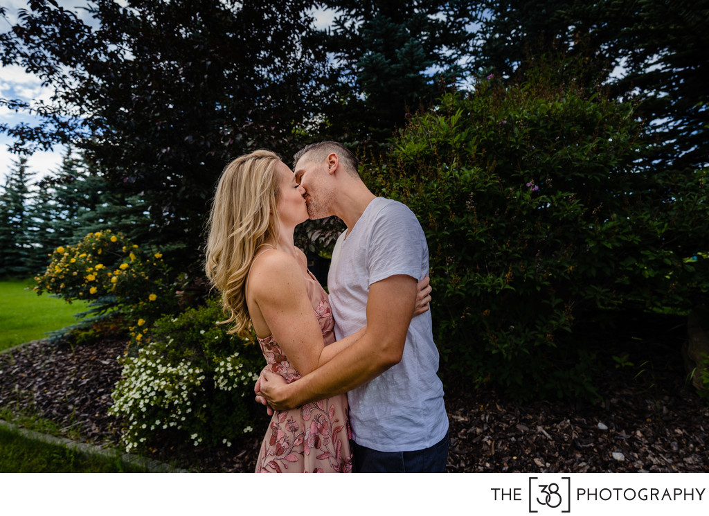 A Kiss During Engagement Session at the Acreage