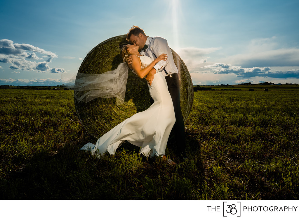 Bride and Groom Portrait Session in the Field