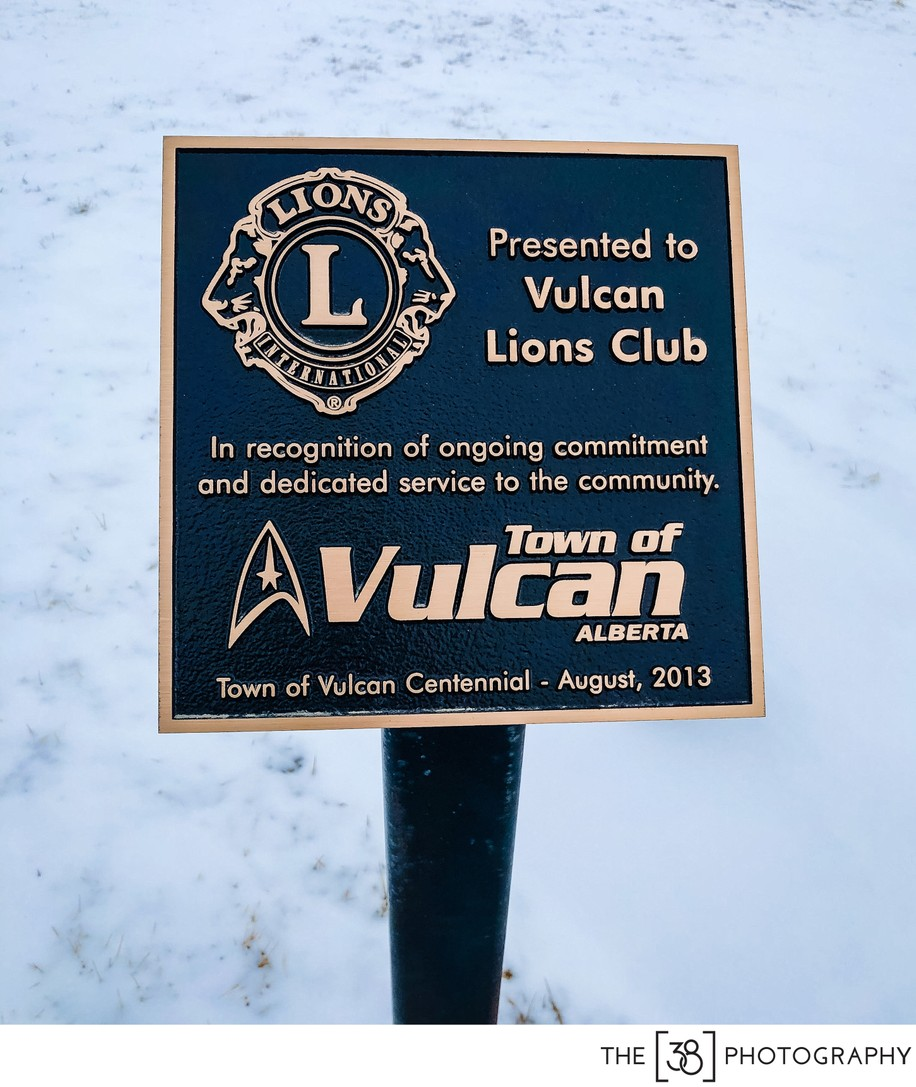 Vulcan Lions Club sign near the Tourism Center