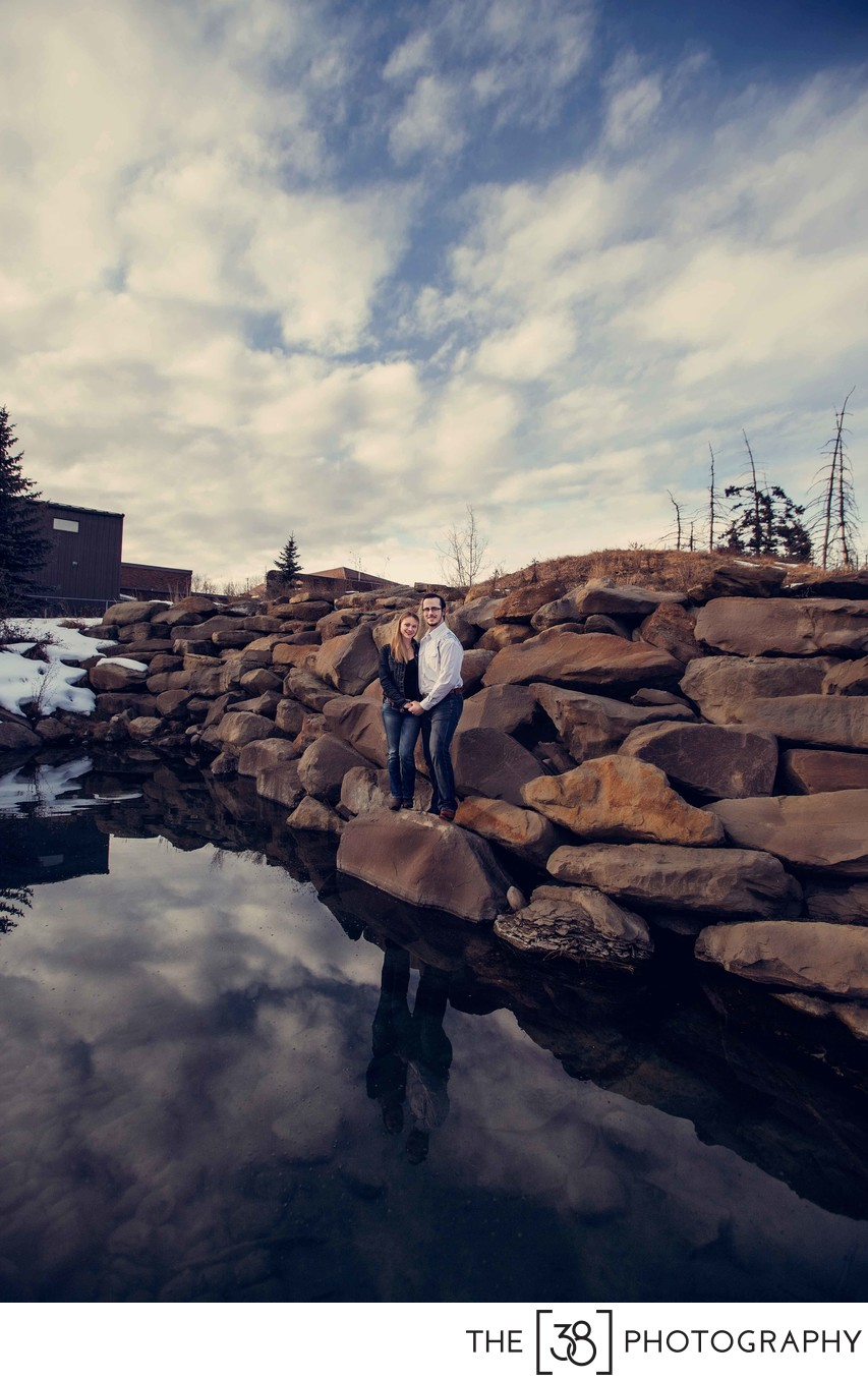 Photo of the Reflection in the Pond at Engagement Session