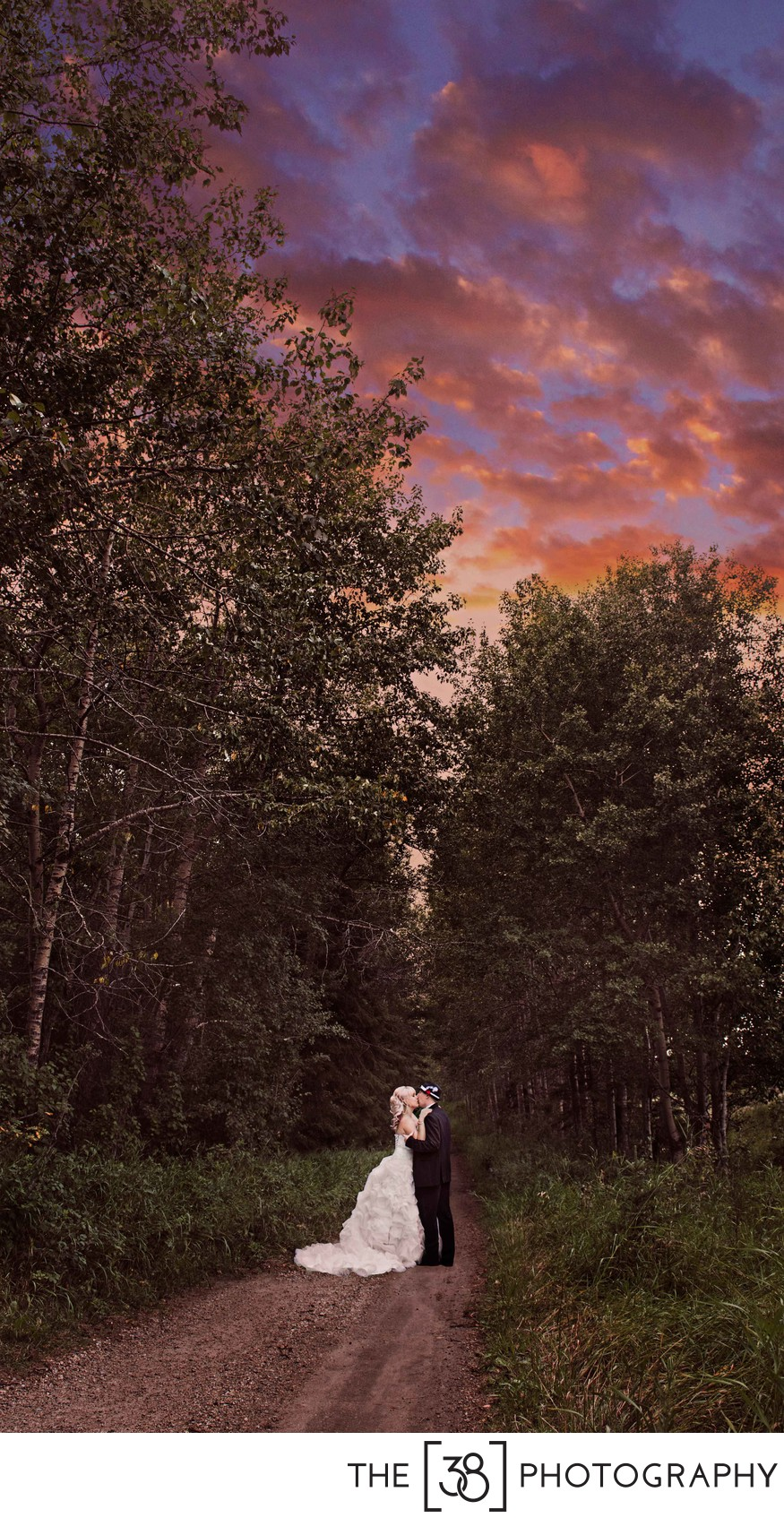 Sunset Wedding Photos in the Park