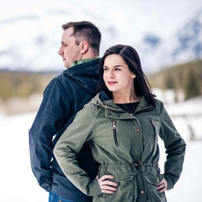 Lake Minnewanka Winter Engagement