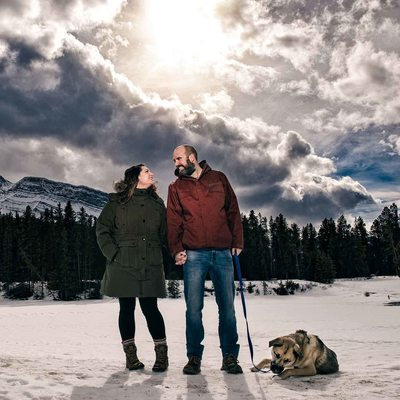 Winter Engagement Photos at Johnson Lake