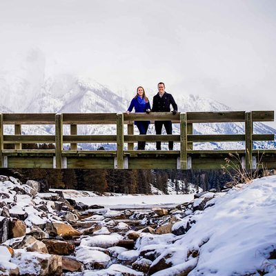 Winter Engagement Session at Johnson Lake