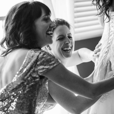 Bridesmaids are Having Fun During the Bride's Prep Time
