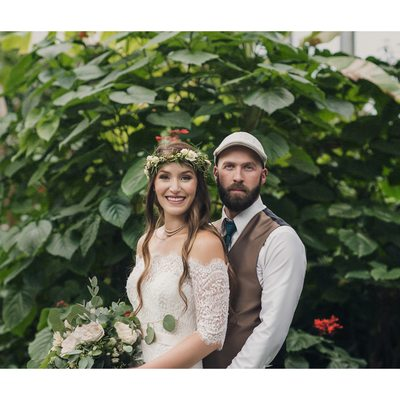 Wedding Portraits at the Conservatory with Butterflies
