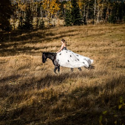 Bride Riding on The Horse
