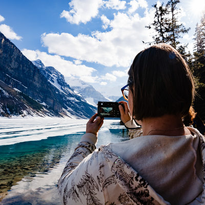 Taking Photos of the Lake and Mountains