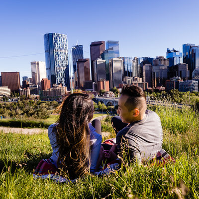 Engagement Photos Panorama of Calgary Downtown View