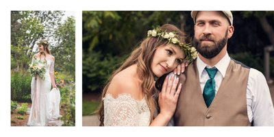 Bride and Groom Portraits at the Garden